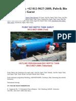 SEGERA, WA +62 812-9627-2689, Pabrik Bio Septic Tank di Garut