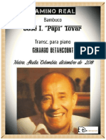 """CAMINO REAL. Bambuco. José I. """"Papi"""" Tovar. Transc. piano Gerardo Betancourt"""