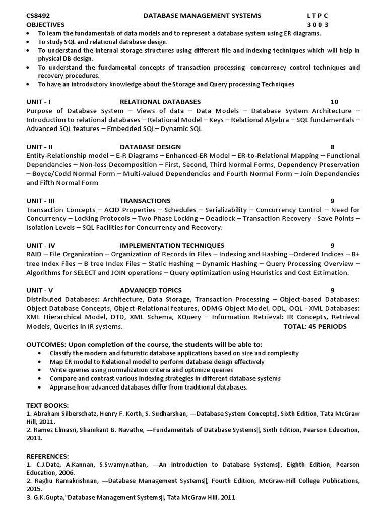 CS8492 - DBMS SYLL | Relational Database | Database Transaction