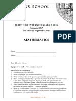 MATHS Y7 2017 Exam Paper