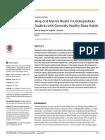 2. Sleep and Mental Health in Undergraduate