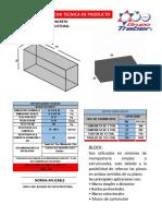 Ficha Tecnica Block Macizo de Concreto 12x20x40 Linea Estructural Nmx-c-404