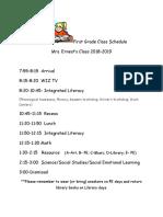 2018 first grade class schedule