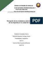 Percepción de Los Ciudadanos Sobre La Situación de Los Migrantes en La Ciudad de Culiacán