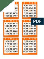 Cartones Bingo 75 Bolas