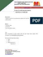 Persyaratan Oprec IMA Sc Undip 2019