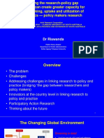 Bridging the research-policy gap How PAR can create greater capacity for policy-making, uptake and utilization of academics — policy makers research By Riswanda, Ph.D