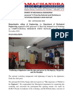 """A Report on DST Sponsored """"A Three Day National Level Workshop on COMPUTATIONAL RESEARCH USING MATLAB"""""""