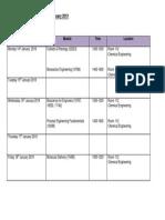 Jan 2019 Exam Timetable
