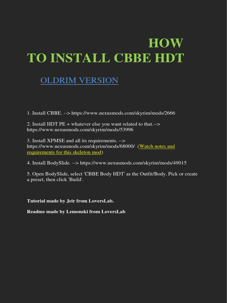 How to Install CBBE HDT