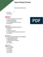 Biology Zoology Botany MCQ PDF