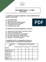 Funções sintácticas 7º