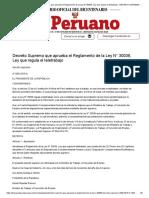 El Peruano - Decreto Supremo que aprueba el Reglamento de la Ley N° 30036, Ley que regula el teletrabajo - DECRETO SUPREMO - N° 009-2015-TR - PODER EJECUTIVO - TRABAJO Y PROMOCION DEL EMPLEO