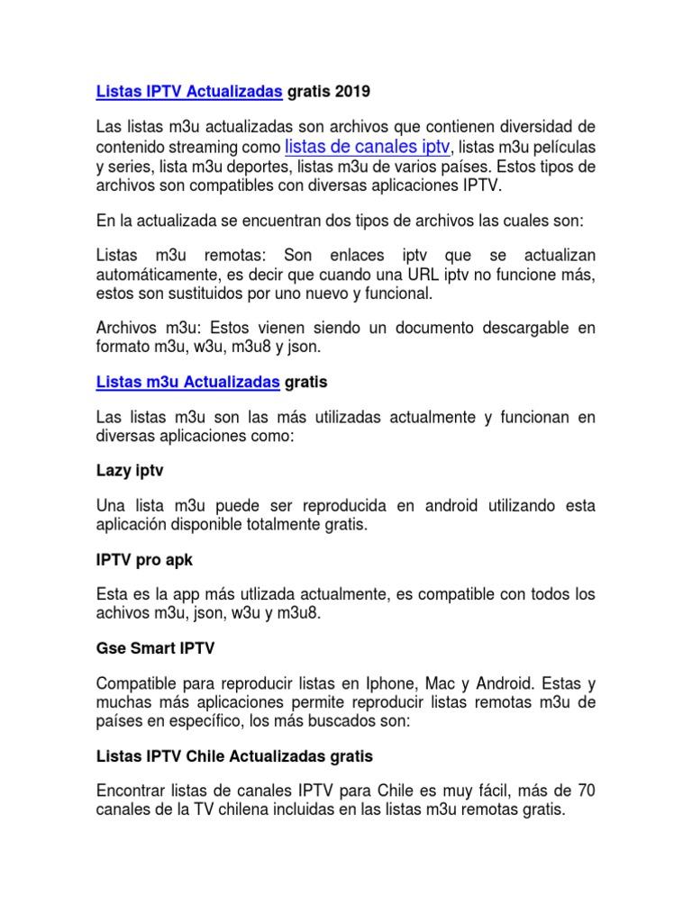 Listas IPTV M3U 2019 Actualizadas Gratis para Android, Smart TV y PC