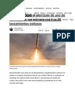 El Aterrizaje de Un Cohete de SpaceX Falla Tras 26 Lanzamientos Exitosos
