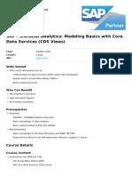 s4hana Analytics Modeling Basics With Core Data Services Cds Views