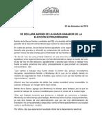 23-12-18 SE DECLARA ADRIÁN DE LA GARZA GANADOR DE LA  ELECCIÓN EXTRAORDINARIA