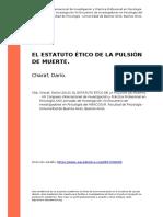 Charaf, Dario (2016). El Estatuto Etico de La Pulsion de Muerte