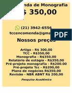 Monografia tcc e pesquisa R$ 350,00  whastsapp (21)974111465   k(19-