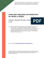 Campos, Mariano Nicolas y Danelinck, (..) (2010). Por Que Vuelven Los Muertoso de Hegel a Oioek