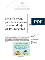 Listas de Cotejo Para La Evaluacic3b3n Del Aprendizaje en Primer Grado