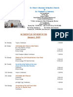 1. Schedule of Divine Services - January, 2019