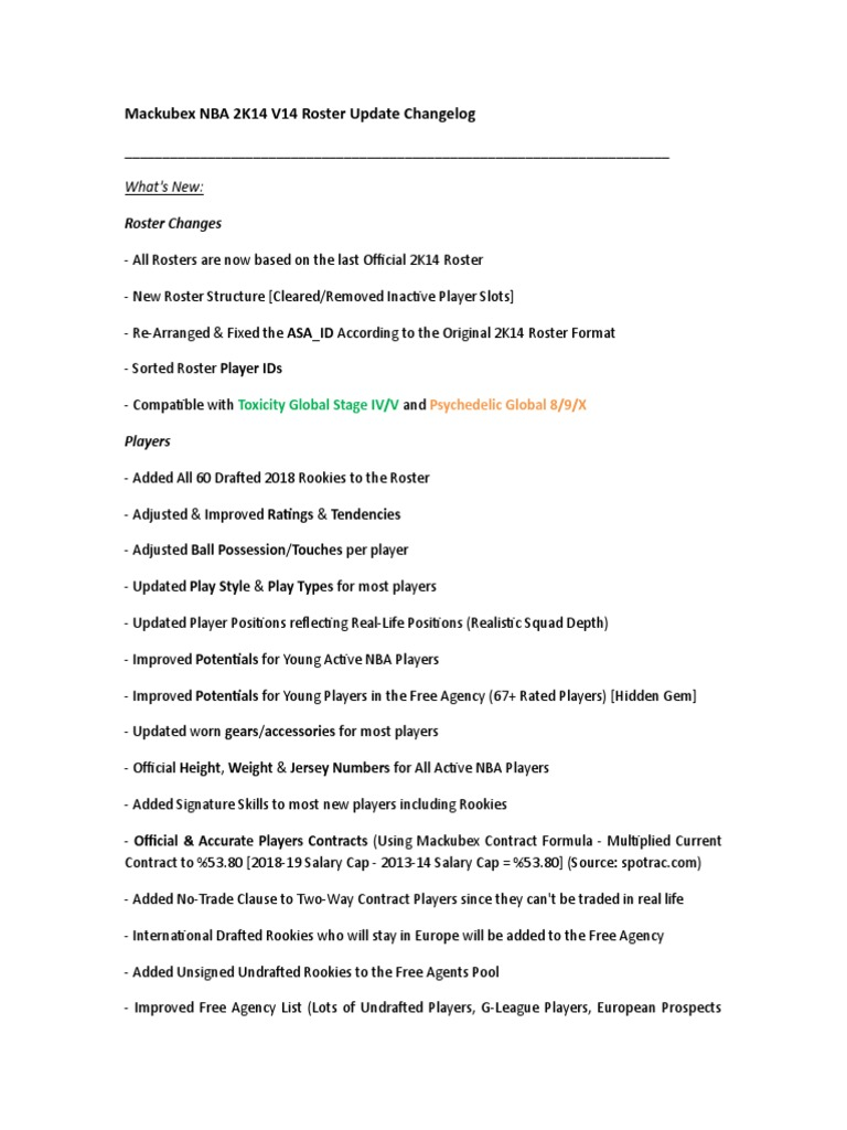 Mackubex NBA 2K14 Roster Update V14 Changelog rtf | National