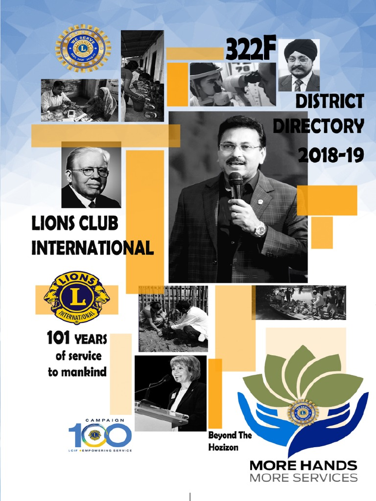 Lions District 322f Directory 2018-19 | Secretary | Board Of