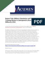 Military Simulation and Virtual Training Market