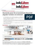 Hacienda Pone Fin Al Anonimato Fiscal Del Alquiler Turístico en Internet