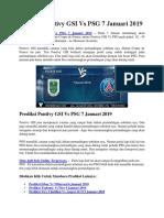 Prediksi Pontivy GSI vs PSG 7 Januari 2019
