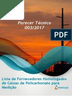 PT 003 - Lista Fornecedores Homologados de Caixas de Policarbonato
