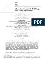 An Analysis of the Informational Content of Dividend Change Payments at Amman Stock Exchange