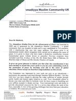 Ahmadiyya Muslim Prize Letter