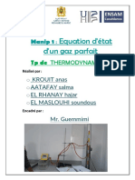 TP 1 Equation d'Etat