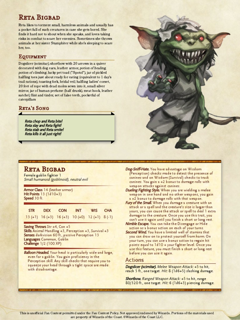 We Be Goblins 5E Character Sheets