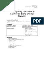 Investigating the Effect of Salinity on Brine Shrimp Natality