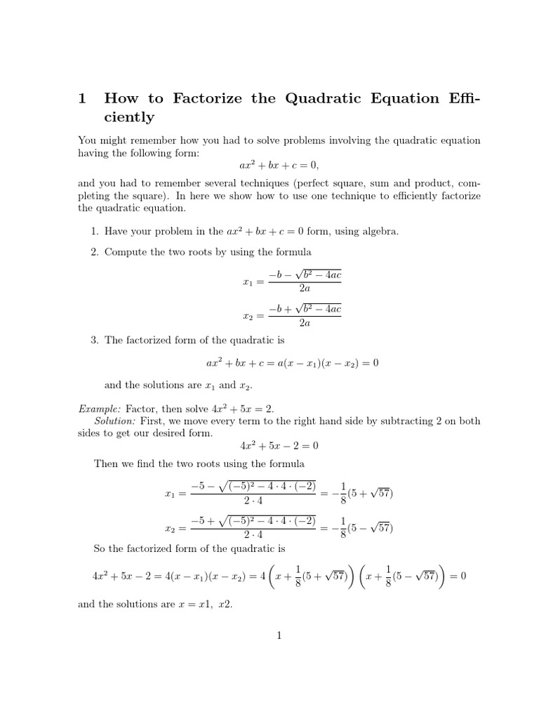 quad pdf   Quadratic Equation   Equations