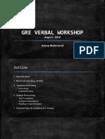 GRE Verbal Reasoning Workshop