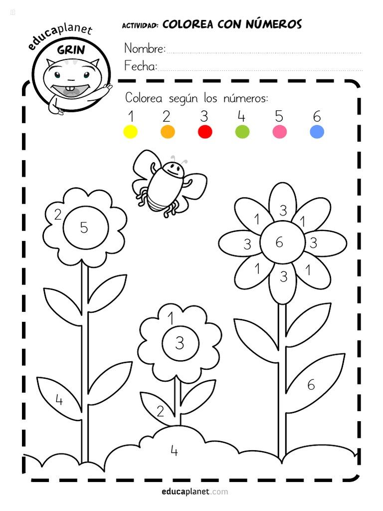 Colorea Flores Numeros Vocalespdf
