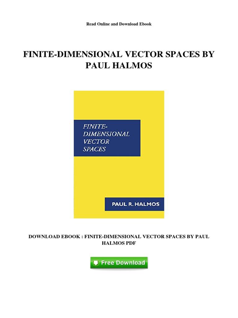 finite dimensional vector spaces halmos pdf free download
