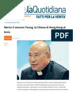 Morto Il Vescovo Yeung. La Chiesa Di Hong Kong Al Bivio
