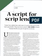 A Script for Script Lenders