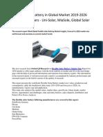 Flexible Solar Battery in Global Market