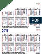 Two Year Calendar 2018 2019 Landscape 2 Rows