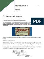 El Dilema Del Tranvía Psicología y Experimentos