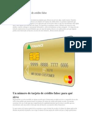Número De Tarjeta De Crédito Falso Docx Internet Página Web