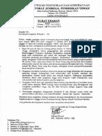 Surat Edaran Pengajuan NIDN Baru Dan Perubahan Data Dosen Lainnya