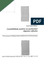 Contabilidade positiva ou positivista? algumas reflexões - Artur Franco Bueno