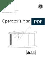 GE Home Generator Systems Generator System Operators Manual